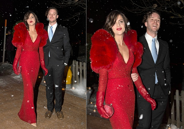 Actress Macarena Gomez and Aldo Comas attending the Andrea Casiraghi and Tatiana Santo Domingo religious wedding in Gstaad on Saturday 1st February 2014